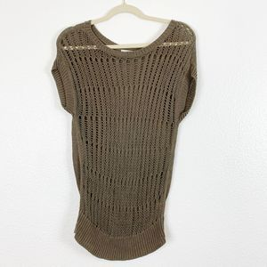 Halogen Brown Knitted Linen Tunic Top Womens Small